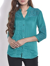 Teal Cotton Pin Tuck Shirt - By