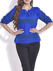 Royal Blue Gathered Neck Cotton Top - By