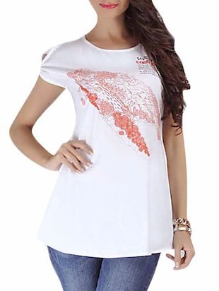 white multi printed organic cotton top