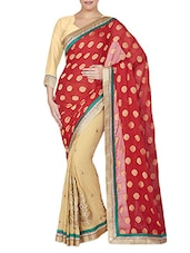Red Chiffon Jacquard Embroidered Saree - By