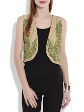 Beige And Green Reversible Embroidered Short Shrug Jacket - By