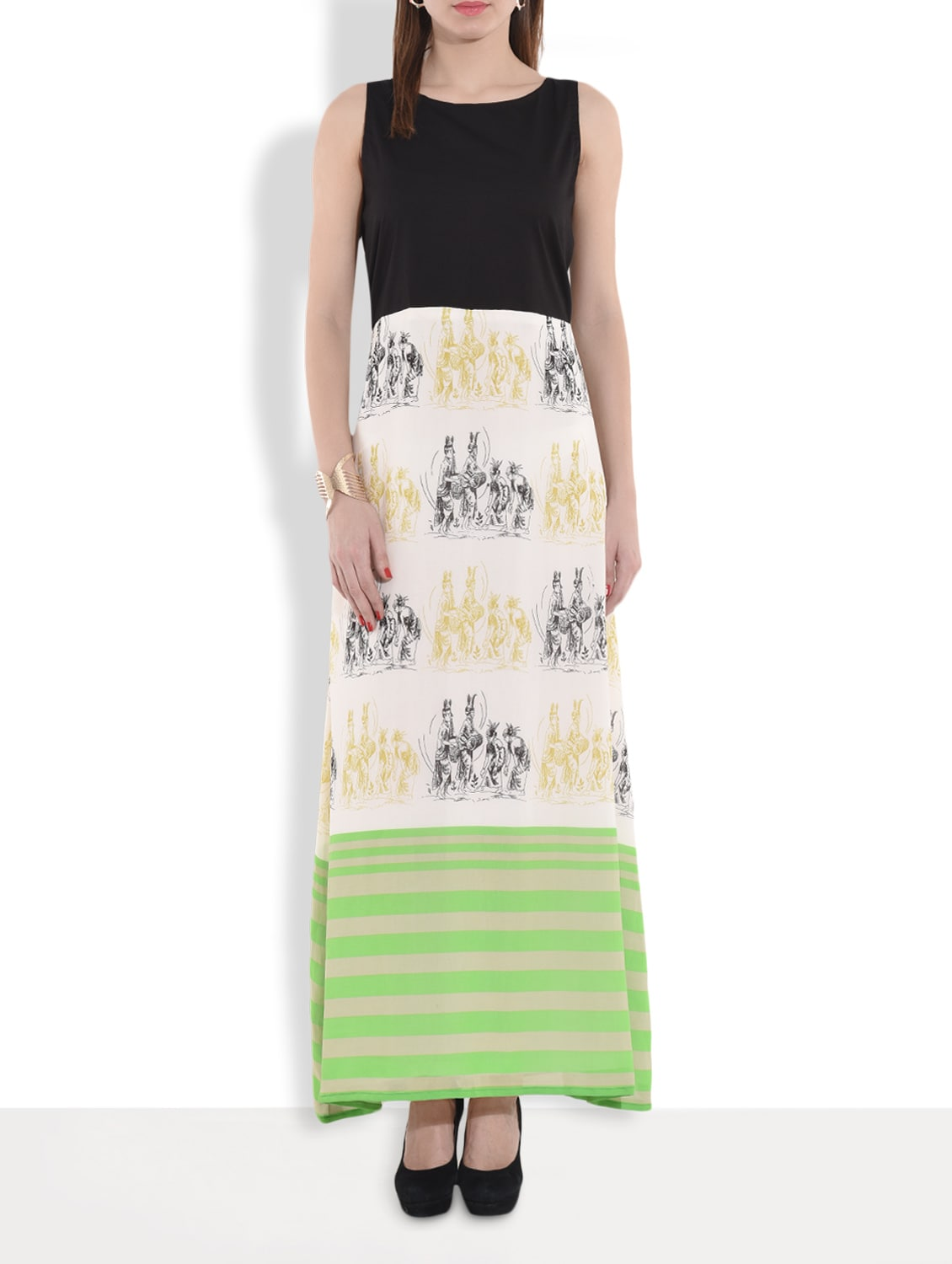 Multicolored Printed Sleeveless Maxi Dress - By