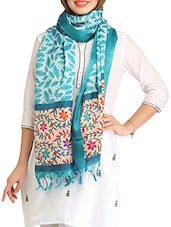 Grey And Blue Printed Blended Silk Dupatta - By