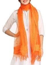 Orange Embellished Organza Dupatta - By