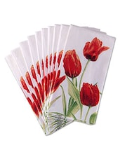 Set Of 10 White Floral Printed Paper Napkins - By