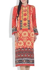 Rust Printed Poly Cotton Kurta - By