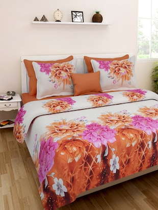 white floral double bedsheet set