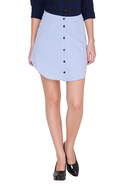 Light Blue Cotton Short Skirt - By