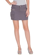 Solid Grey Satin Short Skirt - By