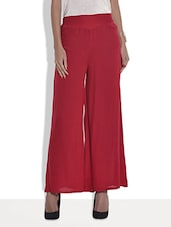 Solid Red Rayon Palazzo Pants - By