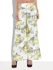 White Floral Printed Palazzo Pants - By