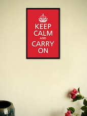 Keep Calm And Carry On- Red Framed Poster - Seven Rays