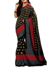 Black Cotton Silk Printed Saree - By