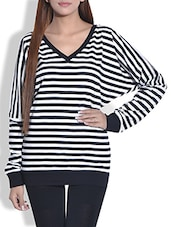 Monochromatic Striped Cotton Knit Top - By