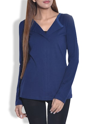 Solid navy collared cotton jersey top