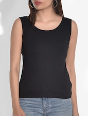 Solid Black Cotton Jersey Tank Top - By