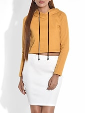 Mustard Hooded Cotton Knit Crop Top - By