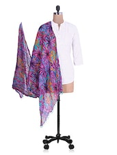 Blue Floral Printed Cotton Duppatta - By
