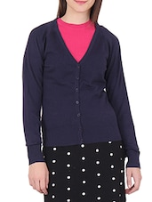 Solid Navy Blue Cotton Sweater - By