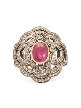 Dual toned ruby embellished ring