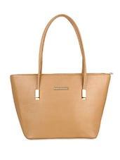 Solid Beige Leatherette Handbag - By