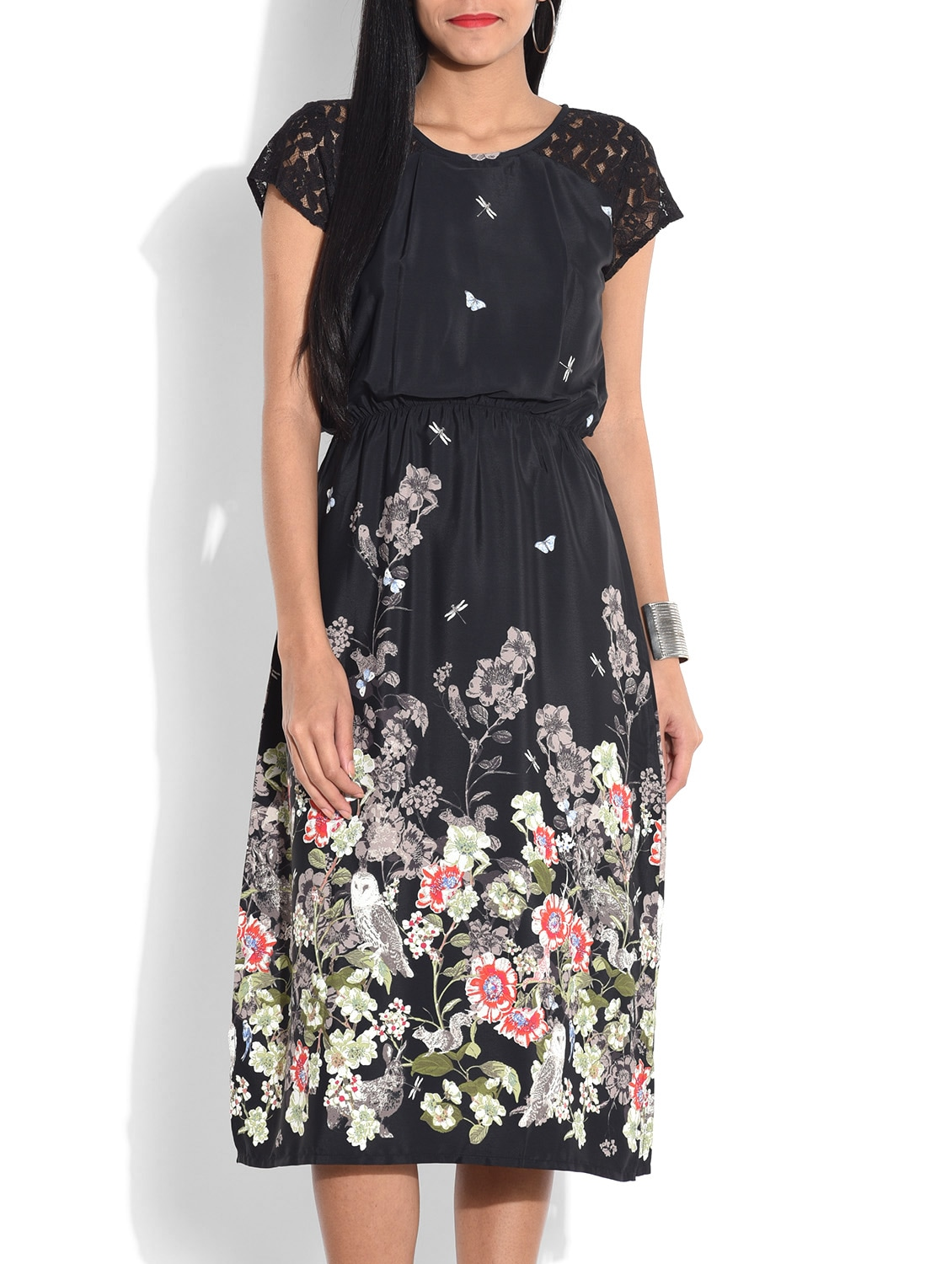 Black Floral Printed Dress With Lace Sleeves - By