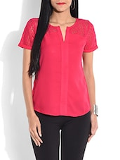 Solid Pink Top With Lace Yoke - By