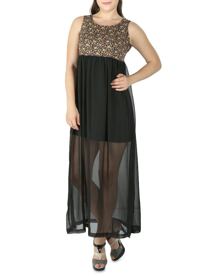 Black Floral Printed Chiffon Maxi Dress - By