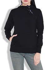 Black Cotton Knit Fleece Hooded Sweatshirt - By