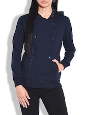 Navy Blue Cotton Knit Fleece Hooded Sweatshirt - By