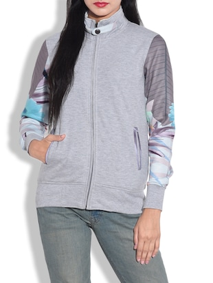 grey cotton knit fleece zippered sweatshirt