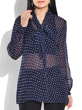 POLKA DOTS BLUE POLY CHIFFON TOP -  online shopping for Shirts