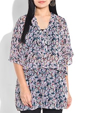 MULTICOLORED FLORAL PRINT POLY GEORGETTE TOP - By