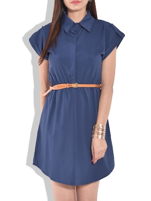 solid blue shirt with belt -  online shopping for Dresses