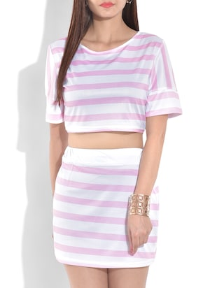 pink and white crop top and skirt set