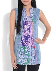 Multicolored Printed Sleeveless Cotton Tunic - By