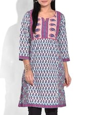 Purple Paisley Printed Cotton Kurta - By