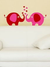Lovely Elephant Pair Pink Wall Decal - Chipakk