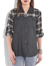 Black Denim Checkered Shirt - By