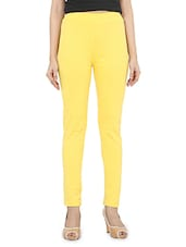 Solid Yellow Cotton Lycra Leggings - By