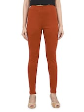 Solid Rust Cotton Lycra Leggings - By