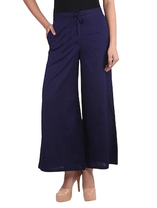Solid navy blue cotton palazzos