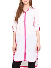 White Printed Full Sleeved Crepe Shirt Kurta - By