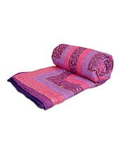 Multicoloured Cotton Printed Double Bed Quilt - By