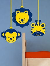 Animal Faces Kids Decal  In Yellow And Blue - Chipakk