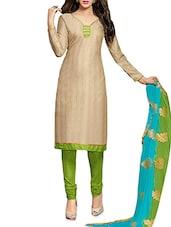 Beige Chanderi Silk Jacquard Printed Unstitched Suit Set - By