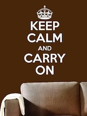 Keep Calm And Carry On White Wall Decal - Chipakk