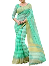 Green Poly Cotton Printed Saree - By