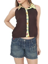 Cotton Solid Brown Shirt Top - By