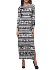 Monochrome Printed Cotton Lycra Maxi Dress - By